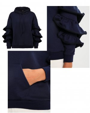 NEU Lost Ink Sweatshirt/ Hoodie mit Volants/ Rüschen, dunkelblau  Gr. 34