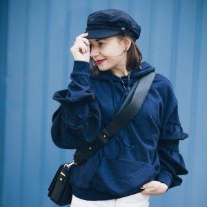 Lost Ink Hooded Sweatshirt dark blue cotton