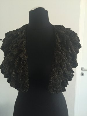 H&M Short Sleeve Knitted Jacket bronze-colored-black viscose