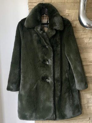 Burberry Fake Fur Coat dark green