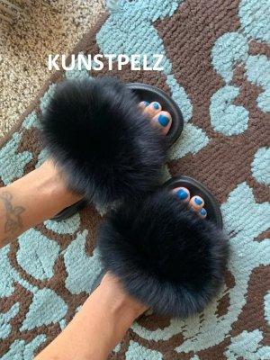 NEU: Luxus Ladyz Kunstpelz Sandalen Pantoletten Schuhe Hausschuhe Schlappen Größe 36 - 45