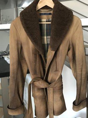 Ralph Lauren Black Label Chaqueta de cuero color bronce-coñac