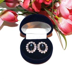 Neu Luxus Ohrringe Silber/Blau Dunkelblau Ohrstecker