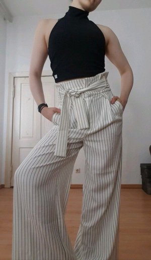 Asos White Pantalón de cintura alta blanco-negro