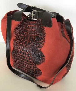 NEU Made in Italy Genuine Leather Florence Damen Tasche Echtleder Kroko Korallenrot Rot