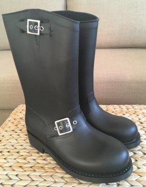 NEU Made in Italy Gummistiefel 38 Reitstiefel Schwarz Reiterstiefel Ankle Boots