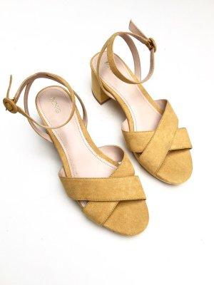 Mango Platform Sandals yellow mixture fibre