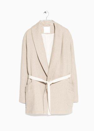 Neu! Mango Premium Leinen Mantel Jacke Oversize Clean Chic Blogger