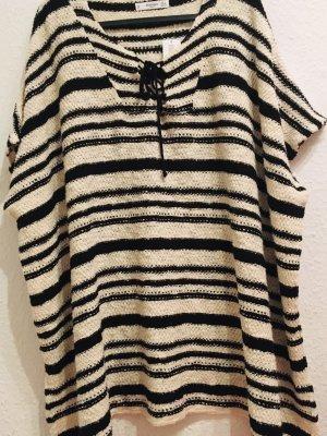 Mango Jersey de manga corta negro-blanco puro