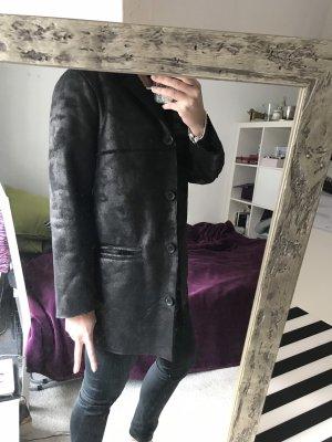 Mango Oversized Jacket black-silver-colored