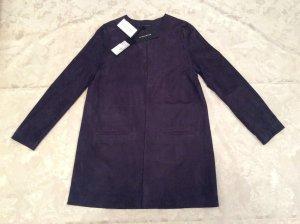 NEU Mantel von Strenesse aus Ziegen Velours Leder In Größte 38 (mit Etikett) blau