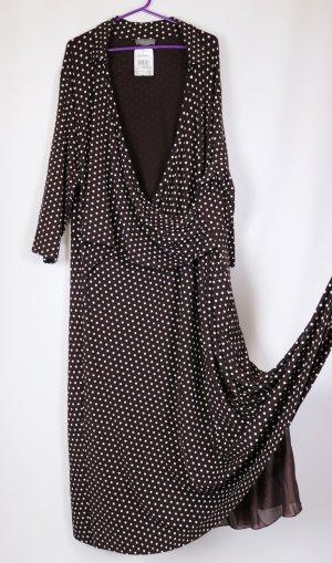 Neu Maxikleid Jersey Kleid Ulla Popken Größe 54 56 Wrapp Dress Dunkelbraun Braun Punkte Weiß Langarm