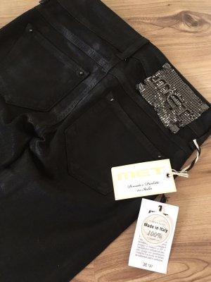 Neu MET Jeans beschichtet Leder Biker Hose XS 34 W24 Schwarz Denim Skinny Slim Damenjeans