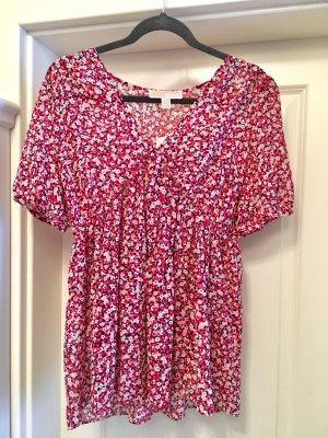 Neu Michael Kors Bluse Top Tunika Shirt Blumen florales Muster Boho Hippie Gr L