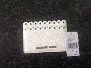 Neu Michael Kors Card Holder Weiß Leder mit Etikett