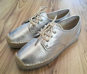 NEU Michael Kors Hastings Lace up 38 Silver Leder Espandrilles Sneaker Ballerina
