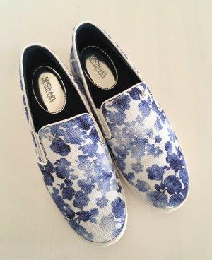 NEU Michael Kors Keaton Slipons 37 Blau Canvas Sneaker Ballerina Slipper Floral Muster