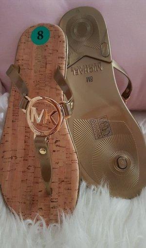 NEU Michael Kors Original Schuhe Flipflops Flip flop gold Korksohle MK 38