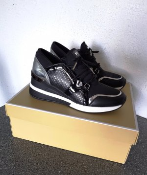 NEU Michael Kors Scout Trainer Sneaker Keilabsatz Wedge Schwarz 37 NP. 174€