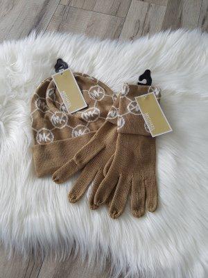NEU Michel Kors Set Mütze Schal beige Herbst Winter Geschenk