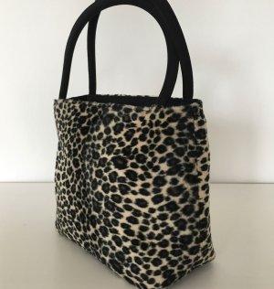 Neu Mini Abend Tasche Wendetasche Schwarz Leo Animal Print Leopard Damentasche