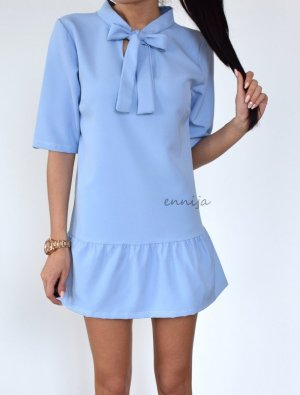 NEU Minikleid hellblau Fashion Blogger Style Kleid XS 34 pale blue