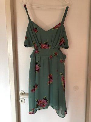 *NEU* Minikleid mit Zierausschnitten in Grün mit Blumenmuster