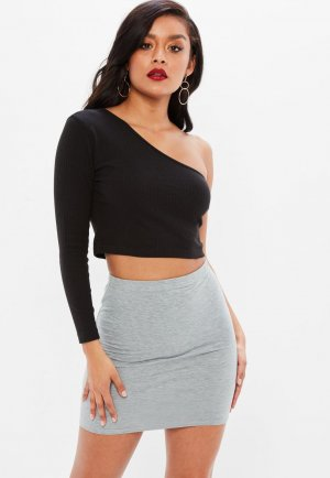 NEU Missguided Asymmetrisches Crop Top Shirt Schwarz S