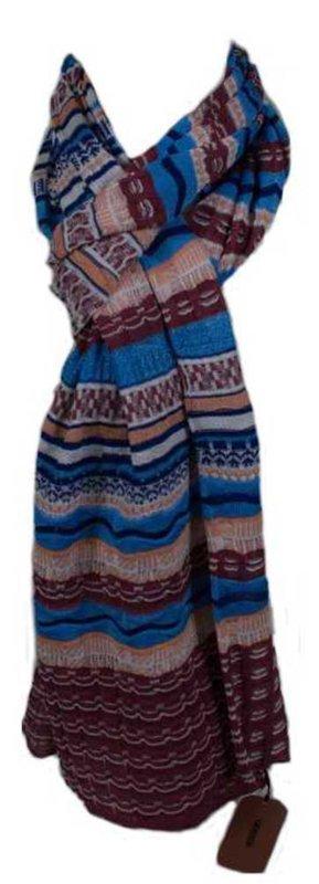 NEU: Missoni Schal, mit borderaux/blauem  Zackenmuster, 30x 180 cm