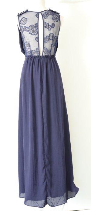 * NEU mit Etiektt * H&M Abendkleid 38 m Spitzenkleid Maxikleid Kleid Spitze blau geblümt