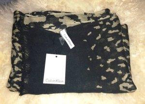 Neu mit Etikett Calvin Klein Schal XXL Schal schwarz gold Tiger look Tigermuster