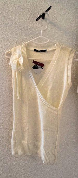 NEU mit Etikett, Festlicher Stricktop mit Blumenapplikation, mit modischem Multicolor-Effectgarn in Metallic-Look, Gr. S