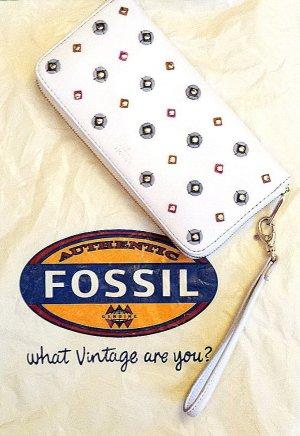 NEU mit Etikett, FOSSIL Portmonee/Clutch aus echtem Leder, sehr viel Stauraum, weiss/dunkelblau