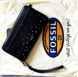 Fossil Wallet black-yellow leather