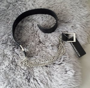 Chain Belt black-silver-colored synthetic material