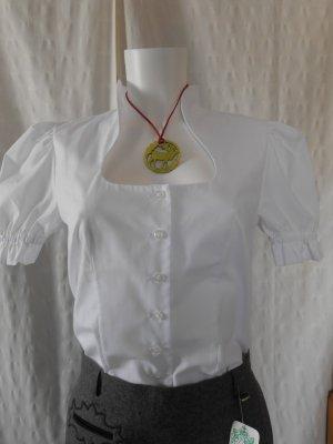 NEU mit Etikett: Hammerschmid, weiße Trachtenbluse mit schönem Stehkragen, Gr. 34