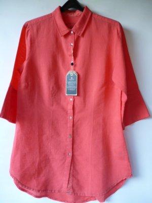 Neu mit Etikett // Hemd aus Leinen-Baumwoll-Mix // korallenrot // Gr. M (38)