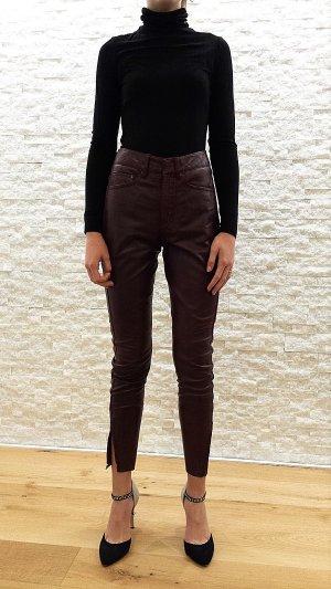 NEU mit Etikett, High Waist Hose aus echtem Leder in der angesagten Farbe weinrot, mit Reißverschluss am Beinabschluss von muubaa, Gr. 34/36, NP 249£
