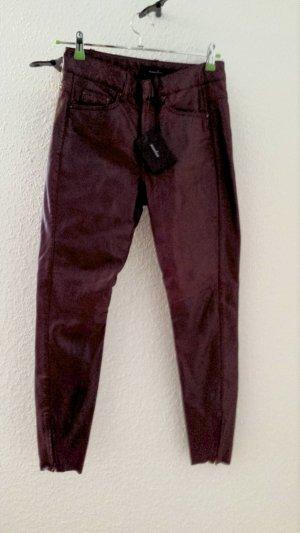NEU mit Etikett, High Waist Hose aus echtem Leder in der angesagten Farbe weinrot, mit Reißverschluss am Beinabschluss von muubaa, Gr. 34, NP 249£