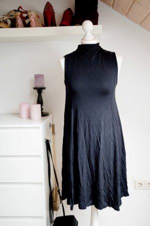 Neu! Mit Etikett Justfab Kleid XS 34 36 Sommer dunkelblau ärmellos Mock Neck Tra