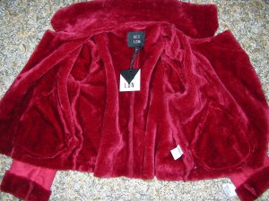 QED London Fake Fur Jacket dark red