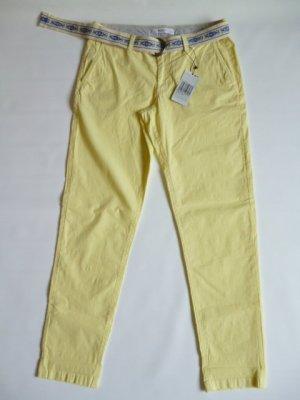 Mango casual Pantalon chinos jaune primevère coton
