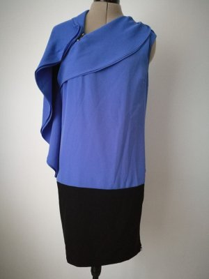 NEU MIT ETIKETT! NP 80 € Elegantes kurzes Kleid blau schwarz Volant Minikleid