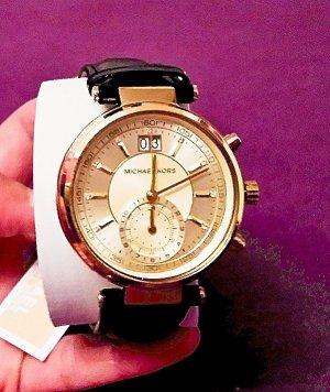 NEU mit Etikett!!! Original!!! Edle Michael Kors Uhr mit Datum- & Sekundenanzeige und Lederarmband, NP 265€