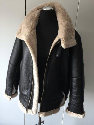 Zara Veste noir-blanc cassé fourrure artificielle