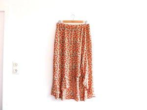Pull & Bear Falda asimétrica beige-naranja neón