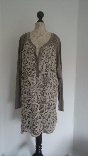 Camisa tipo túnica camel-marrón arena Algodón