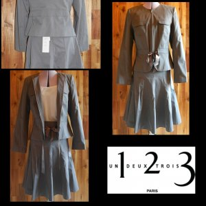 Neu mit Etikett •UN DEUX TROIS• Kostüm NP 264€ Blazer+Rock/Jacke Business Set Anzug