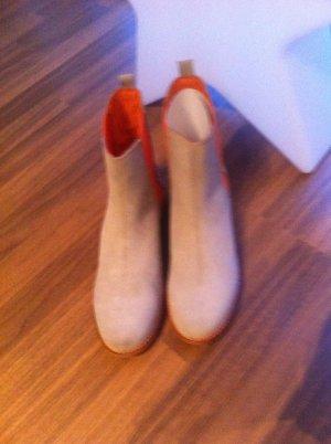 Neu mit Karton! Sehr edle Wildleder Stiefeletten beige orange Gr. 40