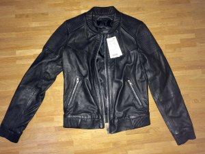 Neu! MNG Mango Echtleder Leder Biker Jacke XS 32 34
